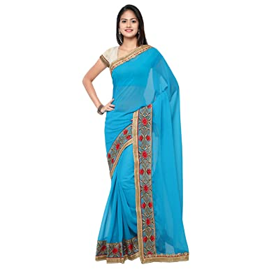 Chirag Sarees Designer Party Wear Frozie Embroidered Saree hellip; Sarees available at Amazon for Rs.1540