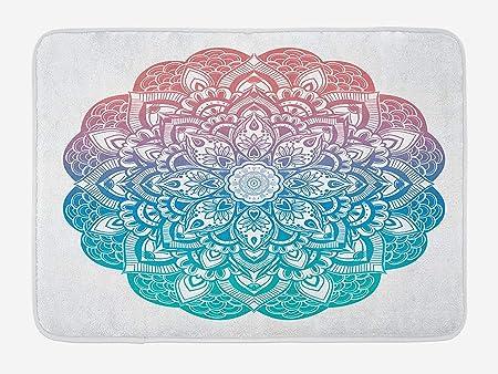 ZKHTO Yoga Bath Mat, Boho Gypsy Mandala in Pastel Colors ...
