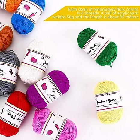 Amazon.com: LuLyL - Ovillo de lana doble (12 x 1.76 oz, 100 ...