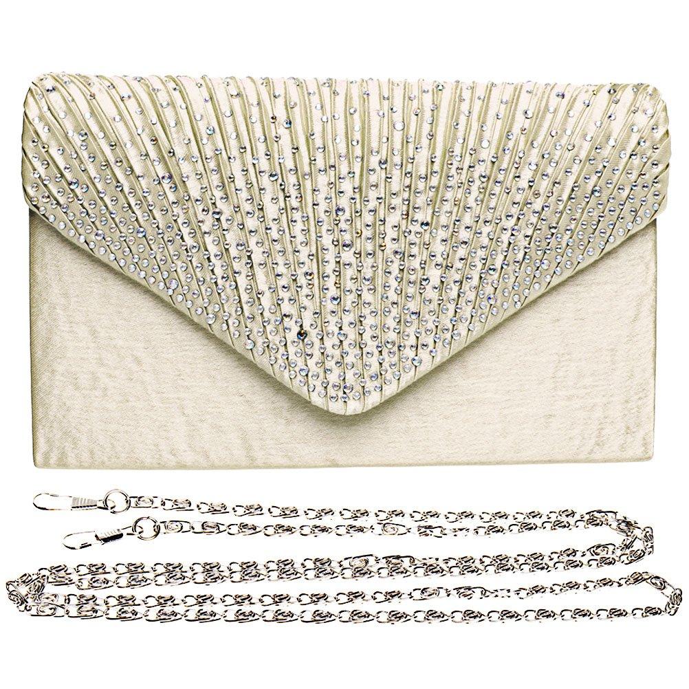 Fashion Road Women Satin Clutch, Rhinestone Evening Clutch, Envelope Clutch Purse, Pleated Flap Handbag for Wedding, Party and Prom Apricot by FASHIONROAD (Image #2)