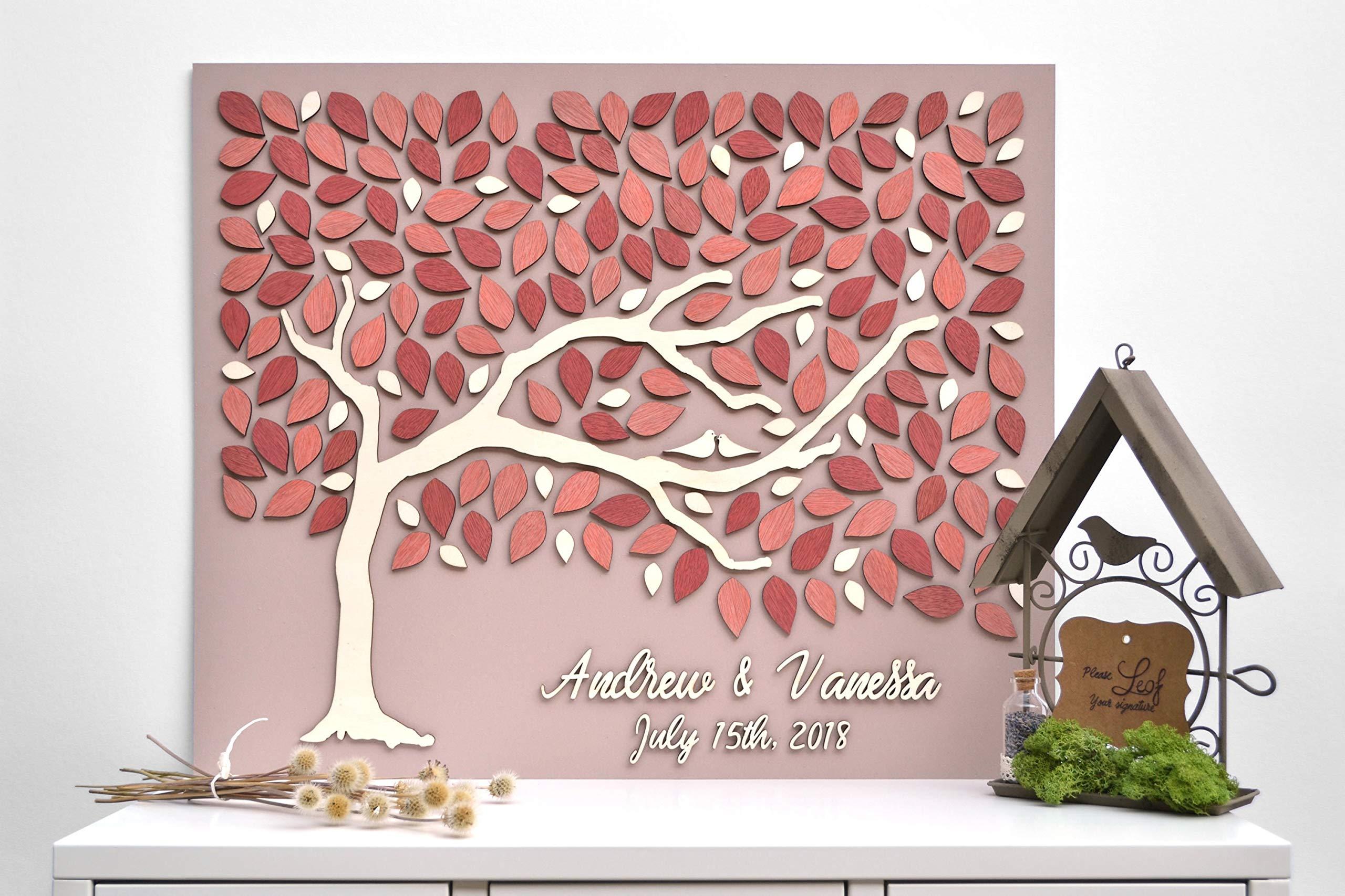 3D Custom Wedding Guest Book Alternative Wood Love Tree Custom Unique Guest Book Leaves Rustic Wedding Rustic Wooden Blush Tree of Life Personalized Wedding Decor