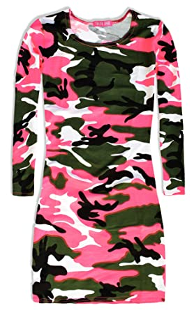 eaa764a819e1 Girls Camo Dress - Girls Dresses - Girls Long Sleeve Dress - Kids Party  Dresses - Girls Pink Camouflage Dress: Amazon.co.uk: Clothing