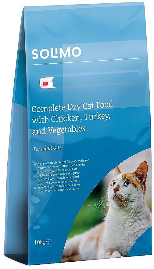 Marca Amazon - Solimo - Alimento seco completo para gatos adultos con pollo, pavo y