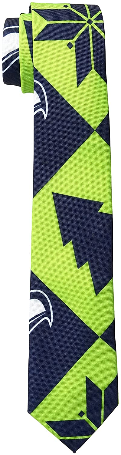 Mens Seattle Seahawks Patches Ugly Printed Tie