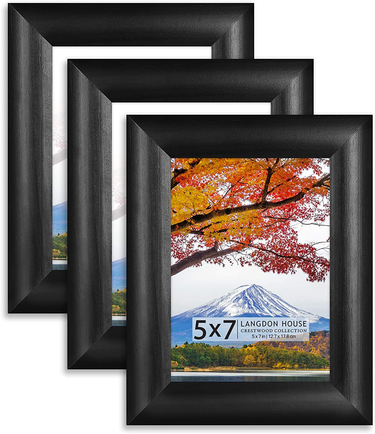 Langdon House 5x7 Picture Frames (Black, 3 Pack), Solid Wood 5 x 7 Traditional Photo Frames with Wall Mount Hooks and Table Top Easel, Crestwood Collection