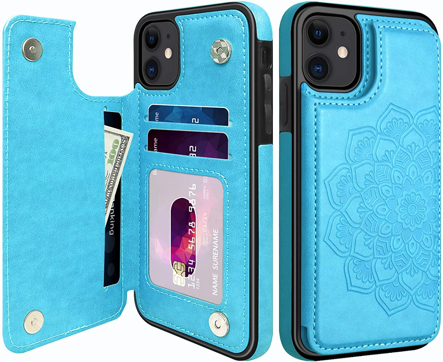 MMHUO for iPhone 11 Case, Elegant Flower Magnetic Flip Leather Wallet Case for iPhone 11 with Card Holder for Womewn Girls, Durable Shockproof Protective Phone Cases for iPhone 11 6.1 inches (Blue)