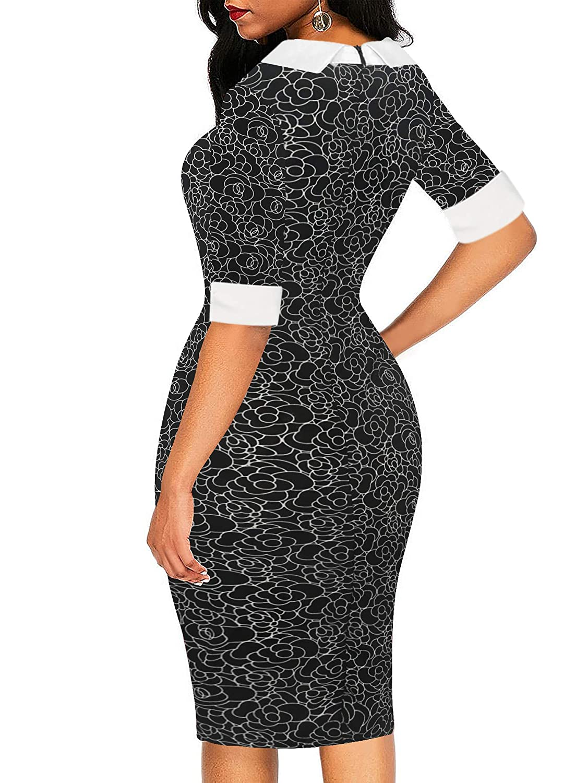 205f474254ed8 oxiuly Women's Retro Bodycon Knee-Length Formal Office Dresses Pencil Dress  OX276