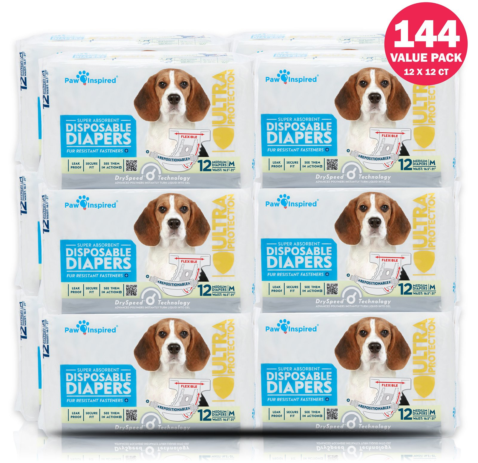 Paw Inspired 144 ct Ultra Protection Female Disposable Dog Diapers Bulk by Paw Inspired (Image #1)