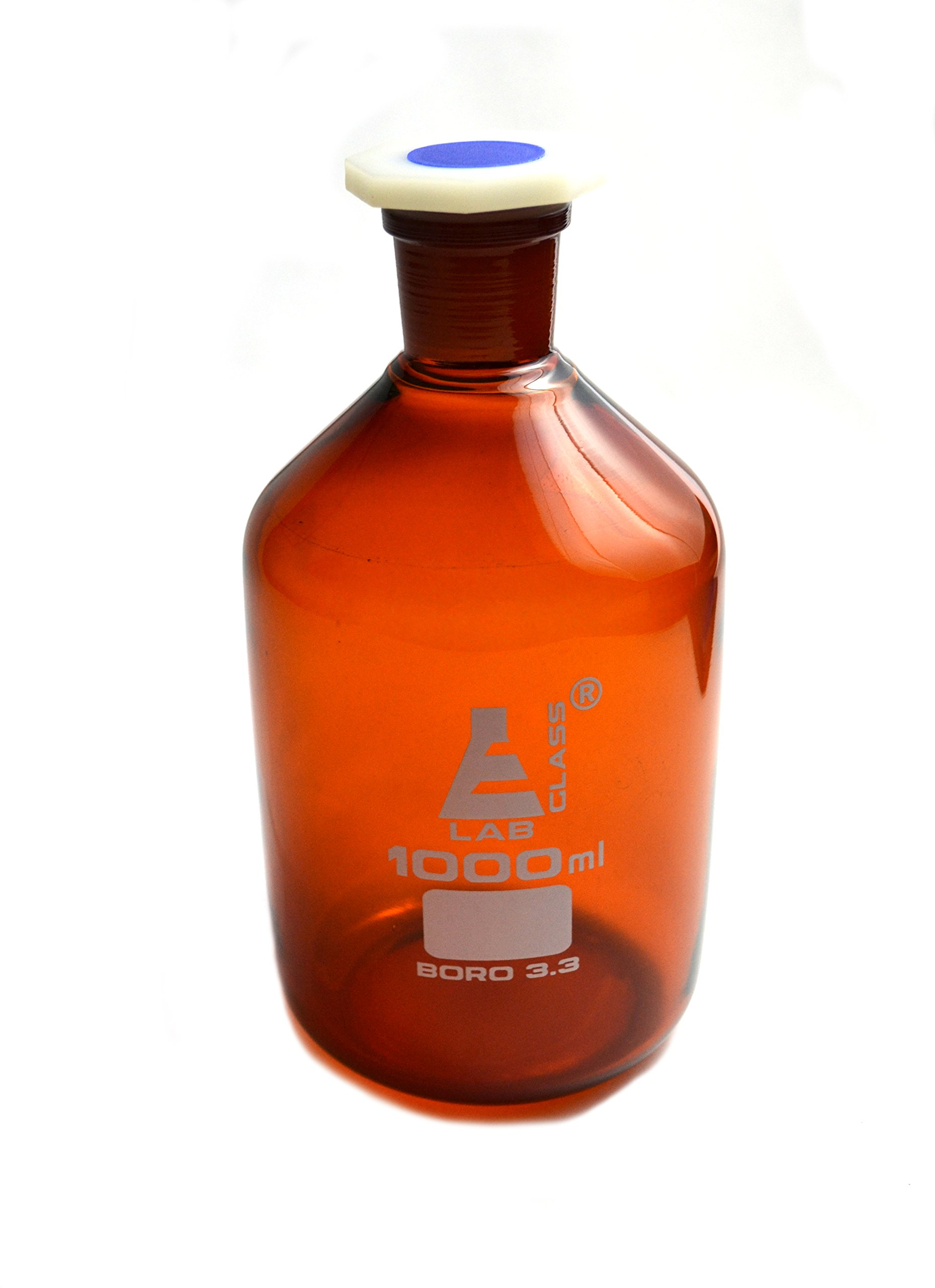 Eisco Labs 1000 ml Amber Reagent Bottle, Narrow Mouth with Acid Proof Polypropylene stopper, socket size 29/32