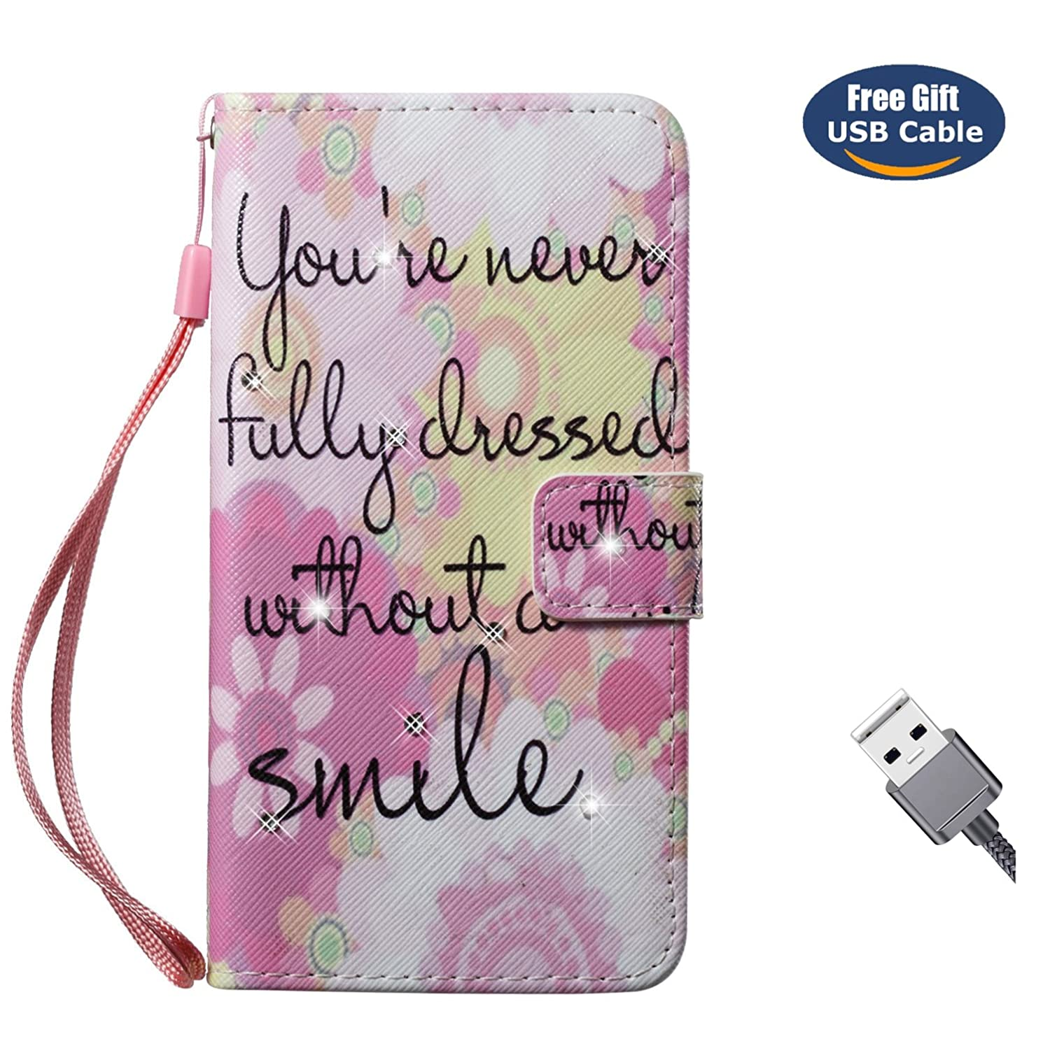Funda Galaxy S5, Cover Galaxy S5, Aireratze Billetera Libro Cuero, PU Leather TPU Silicona Glitter Diamond 3D Smooth Surface [Correa mano] Soporte Ranuras Tarjetas Billeterapara Samsung S5 (Love Flower) yi2018912shou60000