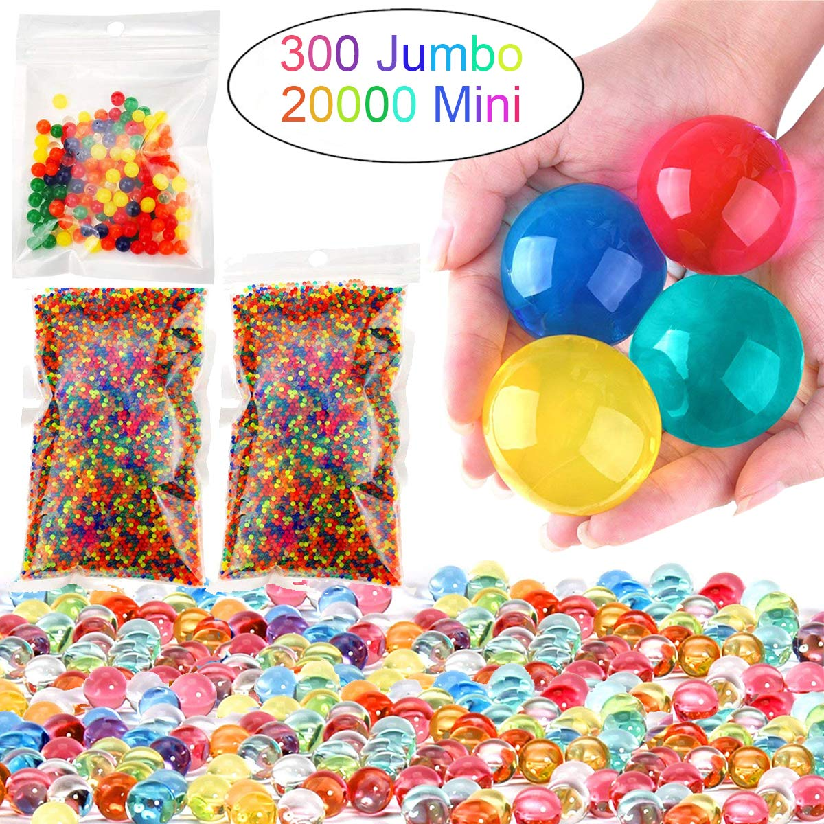 Leeche Non Toxic Water Beads Kit 300pcs Jumbo /& 20000 Small Gel Beads for Kids-Value Package Sensory Toys and Decoration
