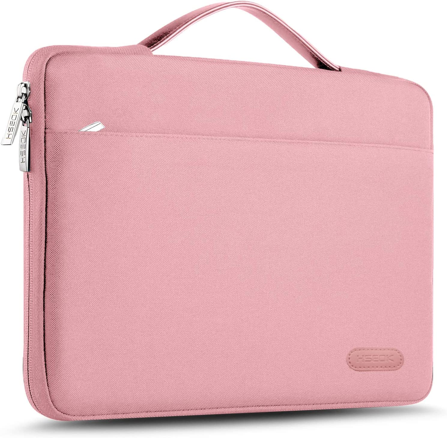 "Hseok Laptop Sleeve 13-13.5 Inch Case Briefcase, Compatible All Model of 13.3 Inch MacBook Air/Pro, XPS 13, Surface Book 13.5"" Spill-Resistant Handbag for Most Popular 13""-13.5"" Notebooks, Pink"