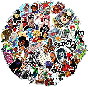 50 Pcs Trendy Non-repetitive Hiphop Rapper Stickers Pack, Funny Decals Stickers Gift for Kids Teens Boys Girls, Waterproof Vinyl Stickers for Laptop Waterbottle Flasks MacBook Copmputer Bike Guitar.