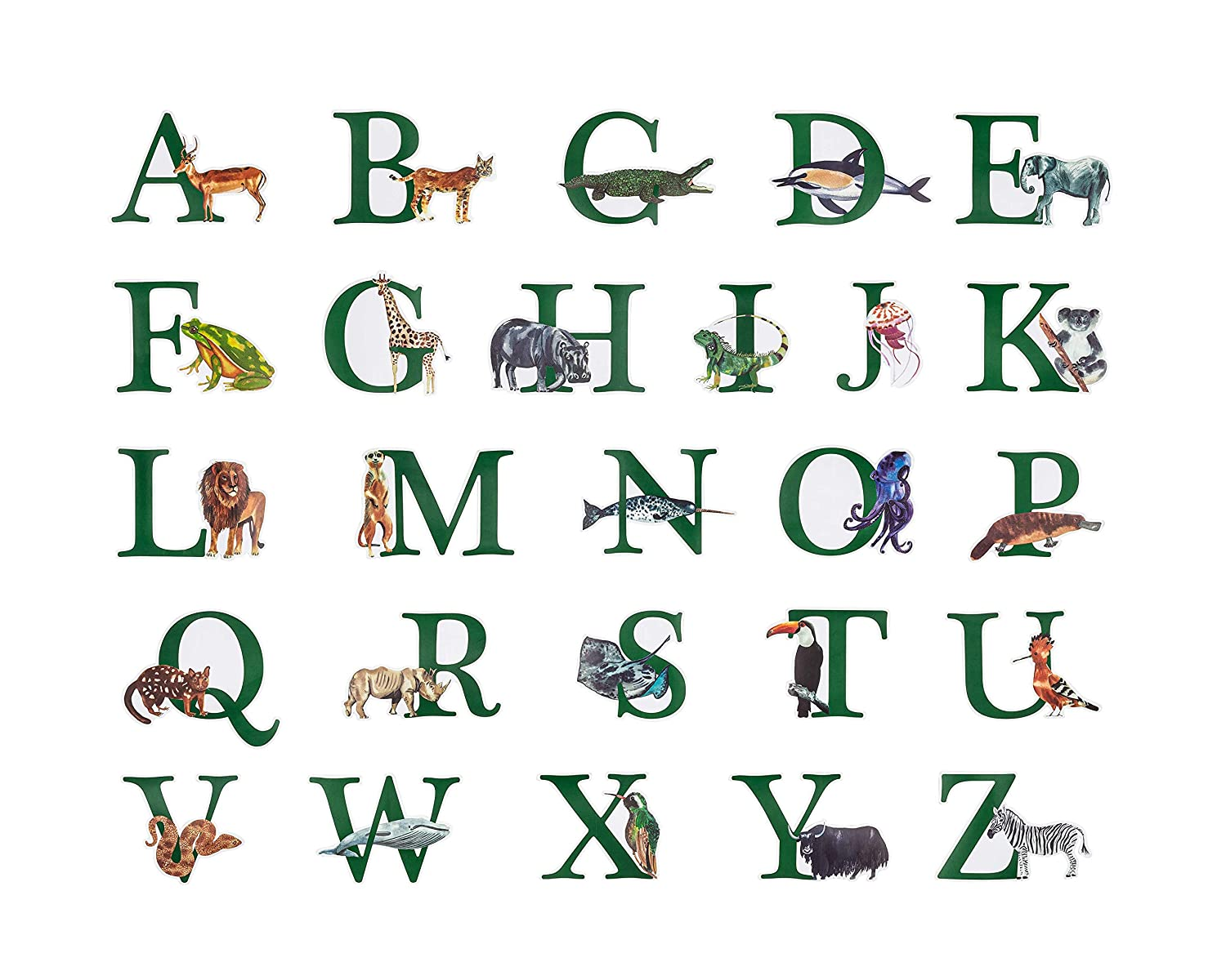 "Animal Alphabet Wall Decor for Kids Watercolor Peel & Stick ABC Sticker Playroom Wall Decals - Removable Vinyl Alphabet Stickers for Kids for Bedroom, Playroom & Baby Nursery Wall (4-8"" W X 5.5"" H)"