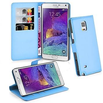 Cadorabo Carcasa para Samsung Galaxy Note 4 Funda en Pastel Azul Funda con Tarjetero y función Atril Case Cover Carcasa Funda Book Style Pastel de ...