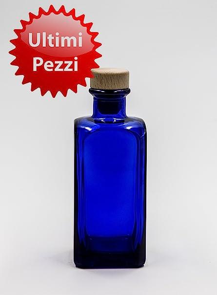 nr 1 botella Antigua Quadra 200 ml de vidrio azul tapón n°59