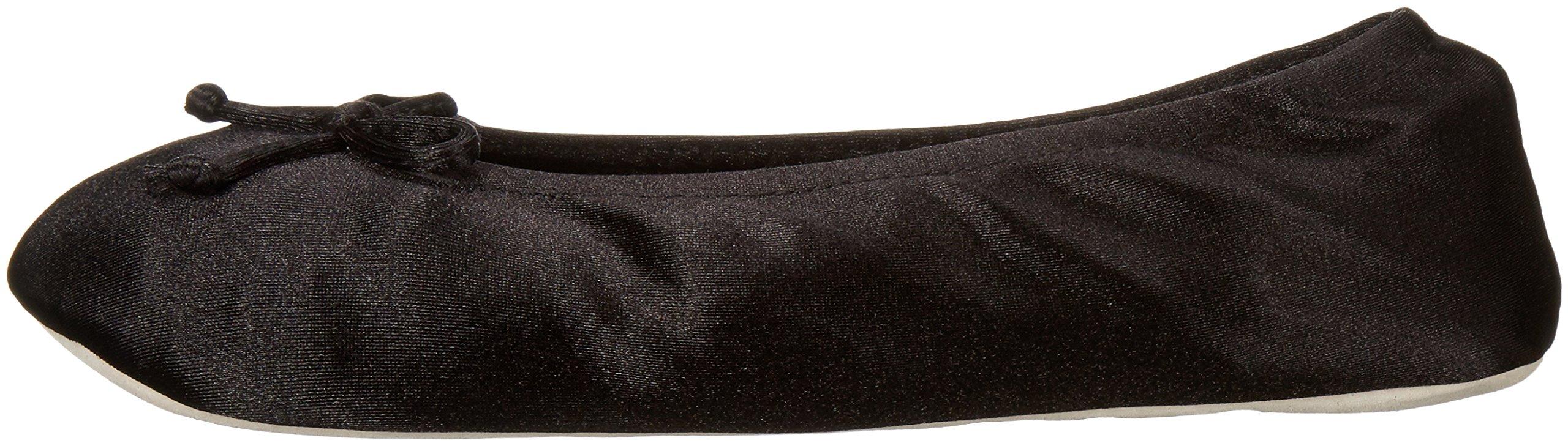 ISOTONER Women's Satin Ballerina Slipper, Black, Large/8-9 M US by ISOTONER (Image #5)