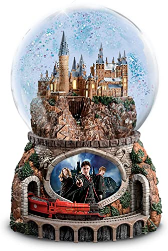 The Bradford Exchange Harry Potter Musical Glitter Globe with Rotating Train and Movie Image Lights Up