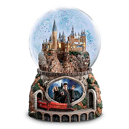 HARRY POTTER Musical Glitter Globe with Rotating Train and Movie Image Lights Up by The Bradford Exchange
