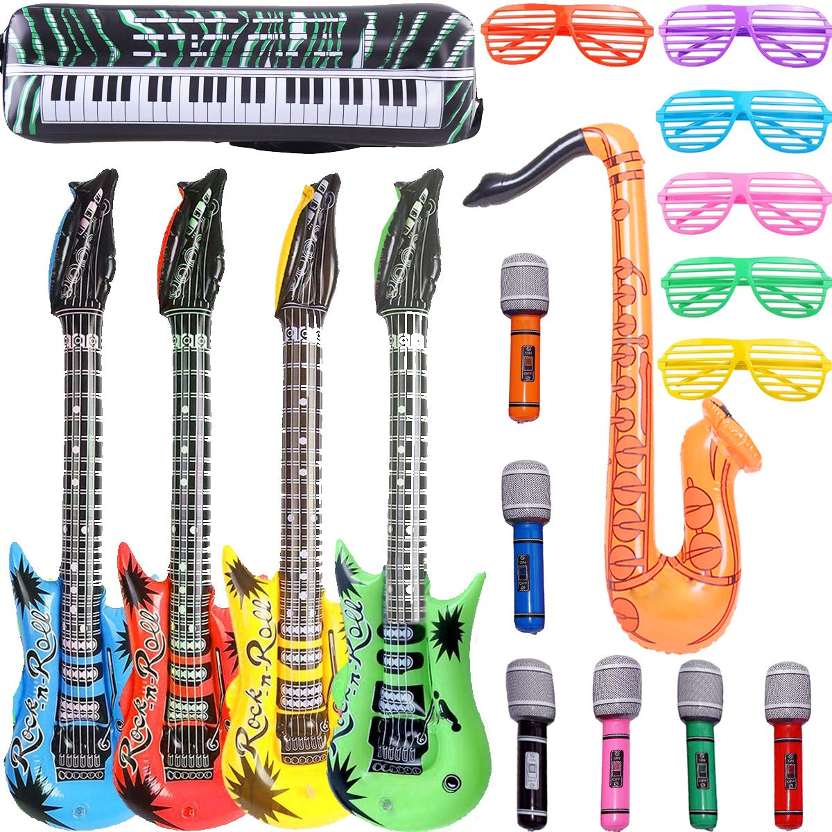Inflatable Rock Star Toy Set - 18 Pack Inflatable Party Props - 4 Inflatable Guitar, 6 Microphones, 6 Shutter Shading Glasses, 1 Saxophone and 1 Inflatable Keyboard Piano Inflatable Rock toys by OuMuaMua