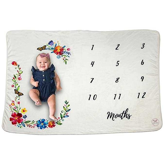 Monarch Babies Baby Monthly Milestone Blanket Photography Prop Backdrop for Newborn Girls - Floral Extra Large 60x40 Premium Soft Fleece - Month Blanket for Showers, New Moms, and Infant Photos