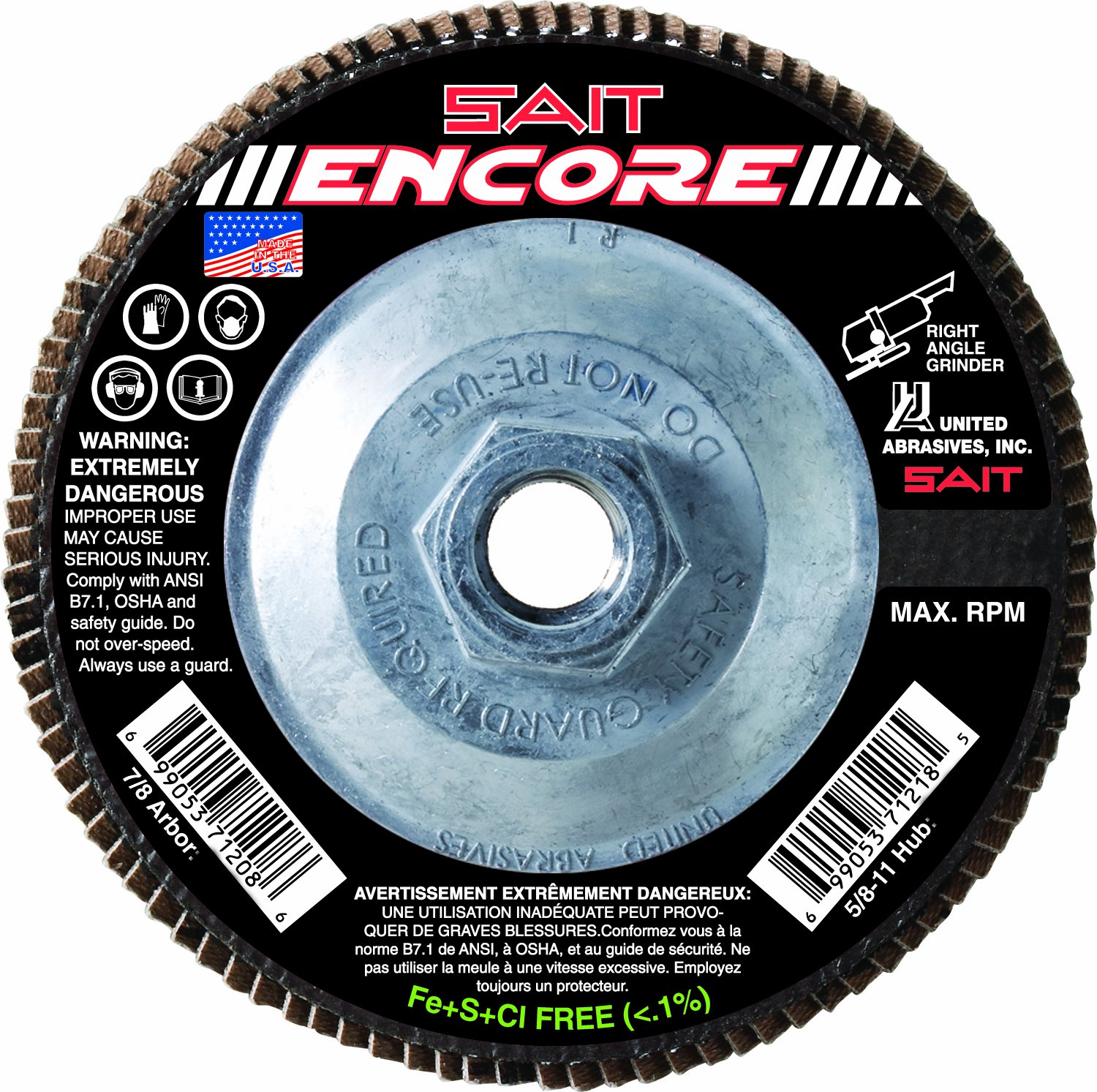 SAIT 70960 Trim Back Flap Disc with 4-1//2-Inch-Inch Diameter and 5//8-11-Inch Arbor United Abrasives 10-Piece