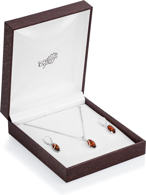 Copal Damen Bernstein-Schmuckset Silber 925 Tropfen-Anh/änger L/ängen-verstellbar Geschenkverpackung Valentinstag Geschenk