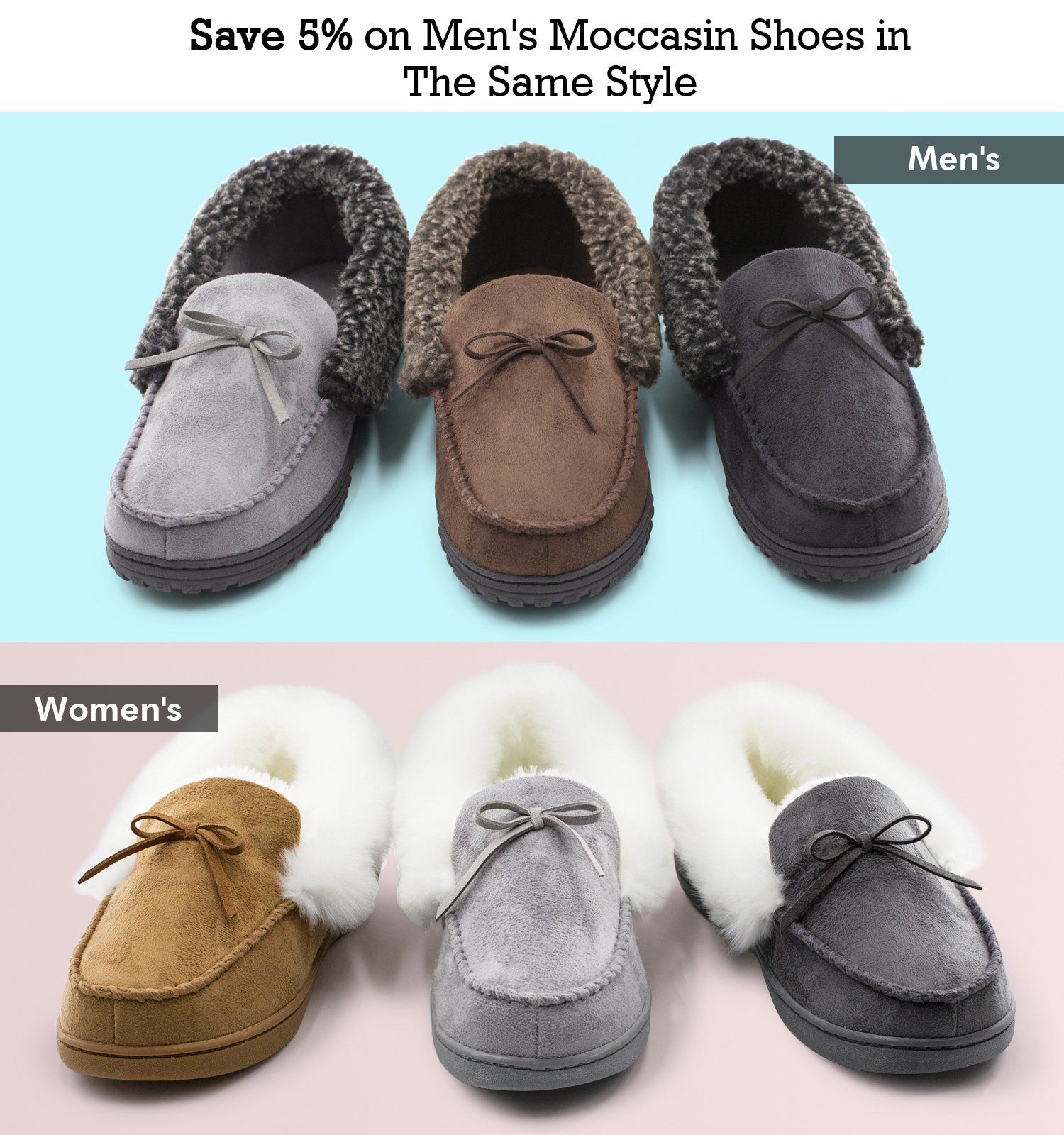 HomeIdeas Women's Faux Fur Lined Suede House Slippers, Breathable Indoor Outdoor Moccasins (7 B(M) US, Black) by HomeIdeas (Image #6)