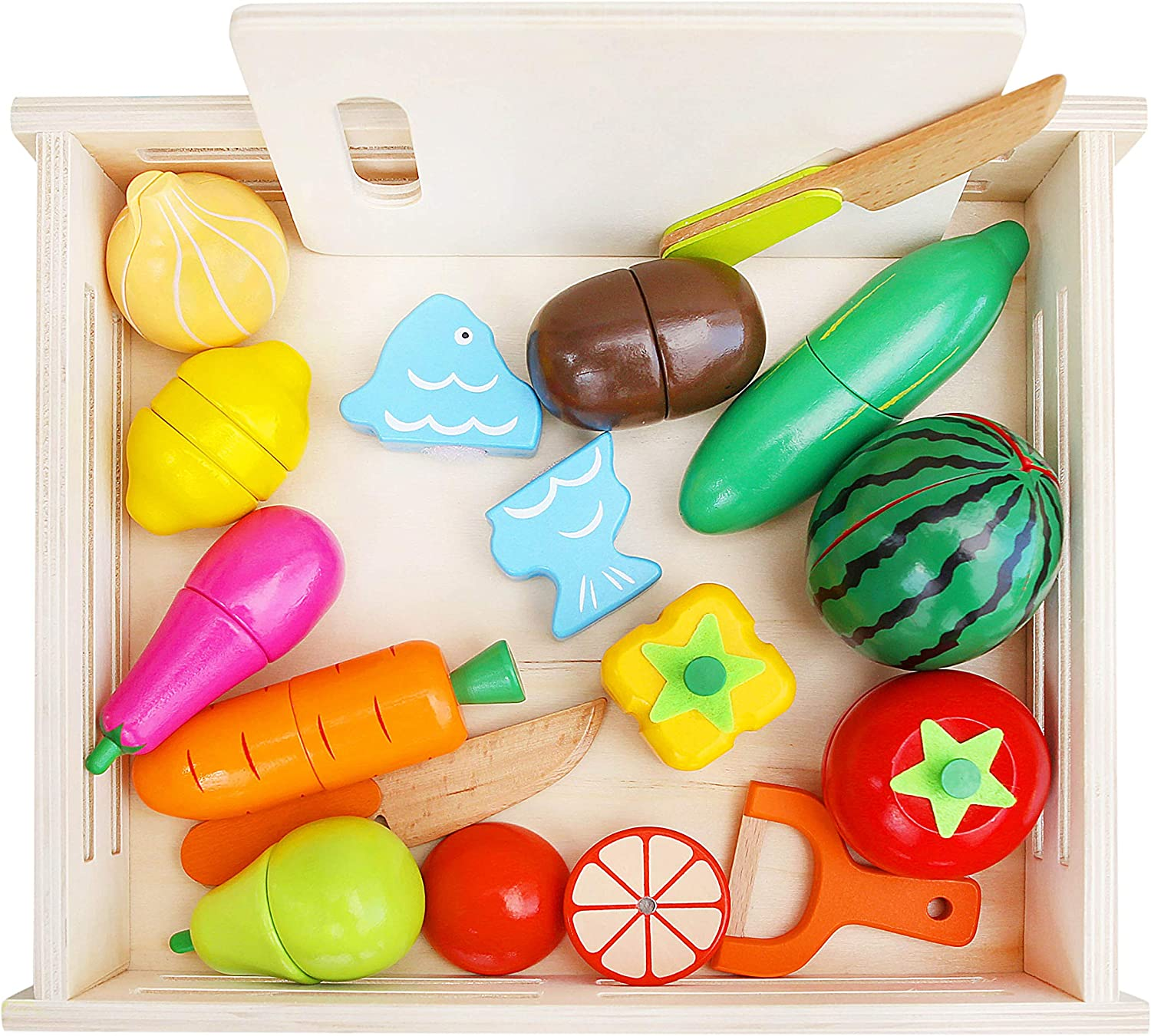 Wooden Toys Club Wood Play Food Toy Set 32 Pcs, Magnetic Pretend Kids Kitchen Fruits & Vegetables for Toddlers, Kids, Boys and Girls