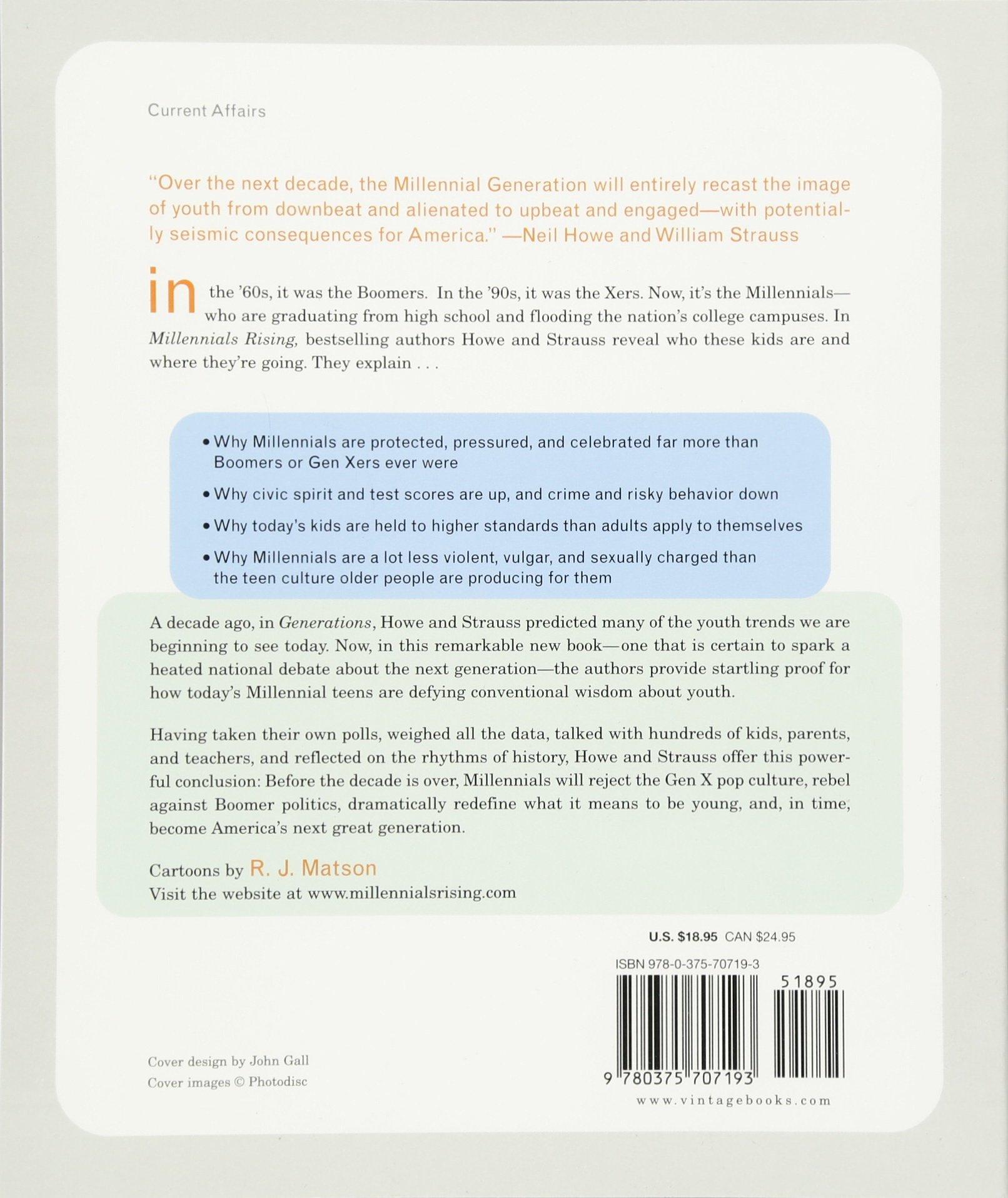 Millennials Rising: The Next Great Generation: Neil Howe, William Strauss,  Rj Matson: 9780375707193: Amazon: Books