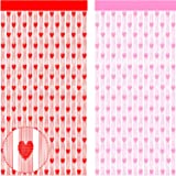 Boa 2 Pieces Valentine's Day Heart Window Curtain Heart Tulle Curtain Decorations for Bathroom Bedroom