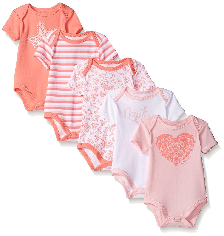 Nautica Brand Baby Set of 5 One-Pieces 0-3; 3-6;6-9 Mo Bodysuits
