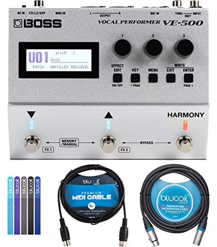 BOSS VE-500 Vocal Performer Multi-Effects Pedal Bundle with Blucoil 5-Ft  MIDI Cable, 10-Ft Balanced XLR Cable for Microphone, Speakers, Pro Devices