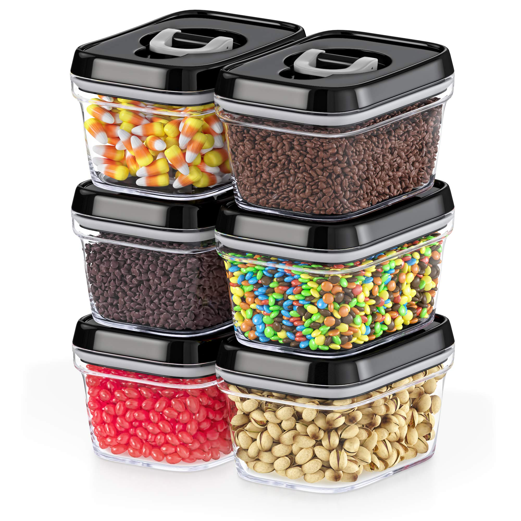 Dwellza Kitchen Airtight Food Storage Containers with Lids - 6 Pieces All Same Size - Pantry Container for Chocolate, Candy, Nuts Coffee and Tea, Clear Plastic BPA-Free, Keeps Food Fresh & Dry by DWËLLZA KITCHEN