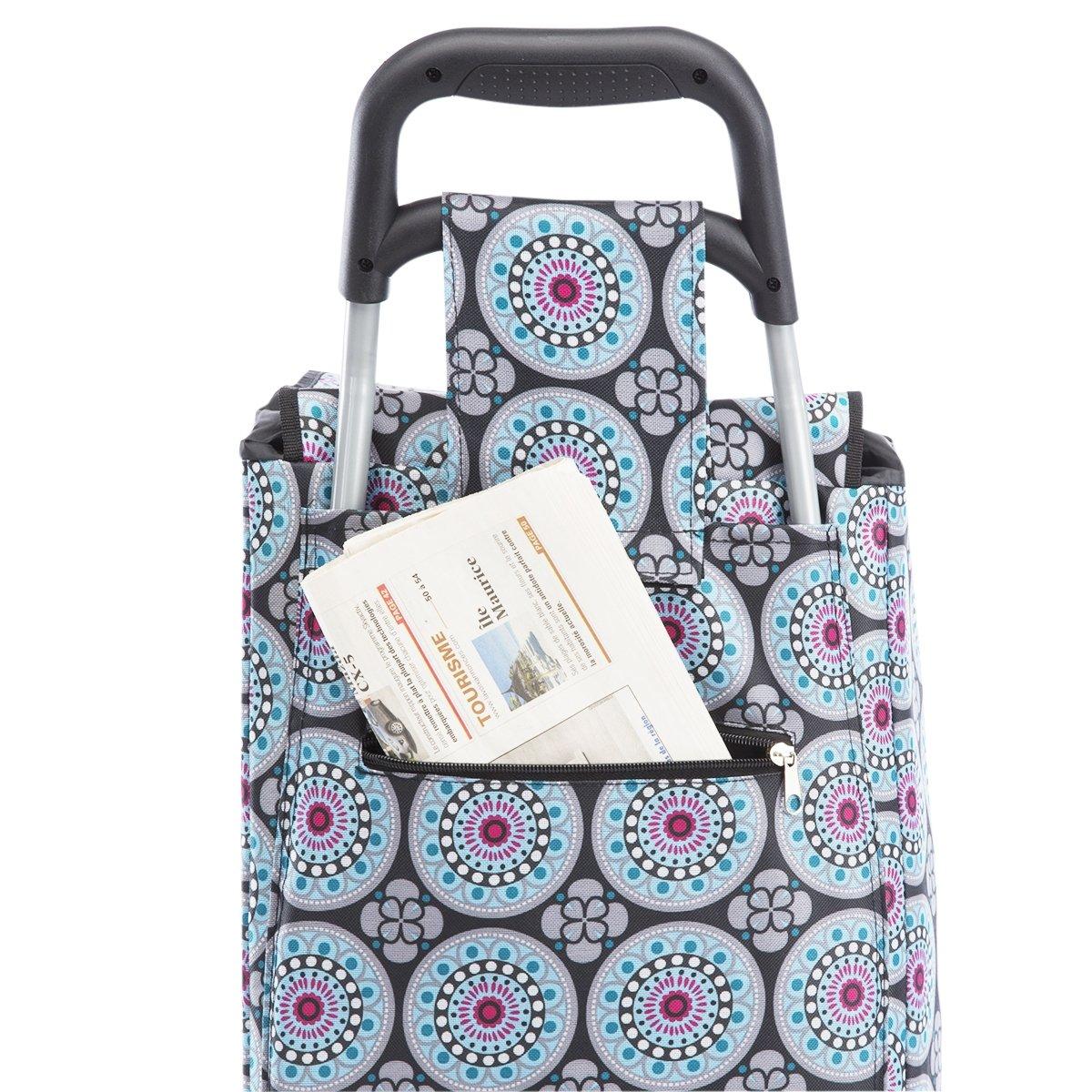 Carrito de la Compra, de Compra isotérmica 6 Ruedas, diseño de Mosaico, Color Azul: Amazon.es: Hogar