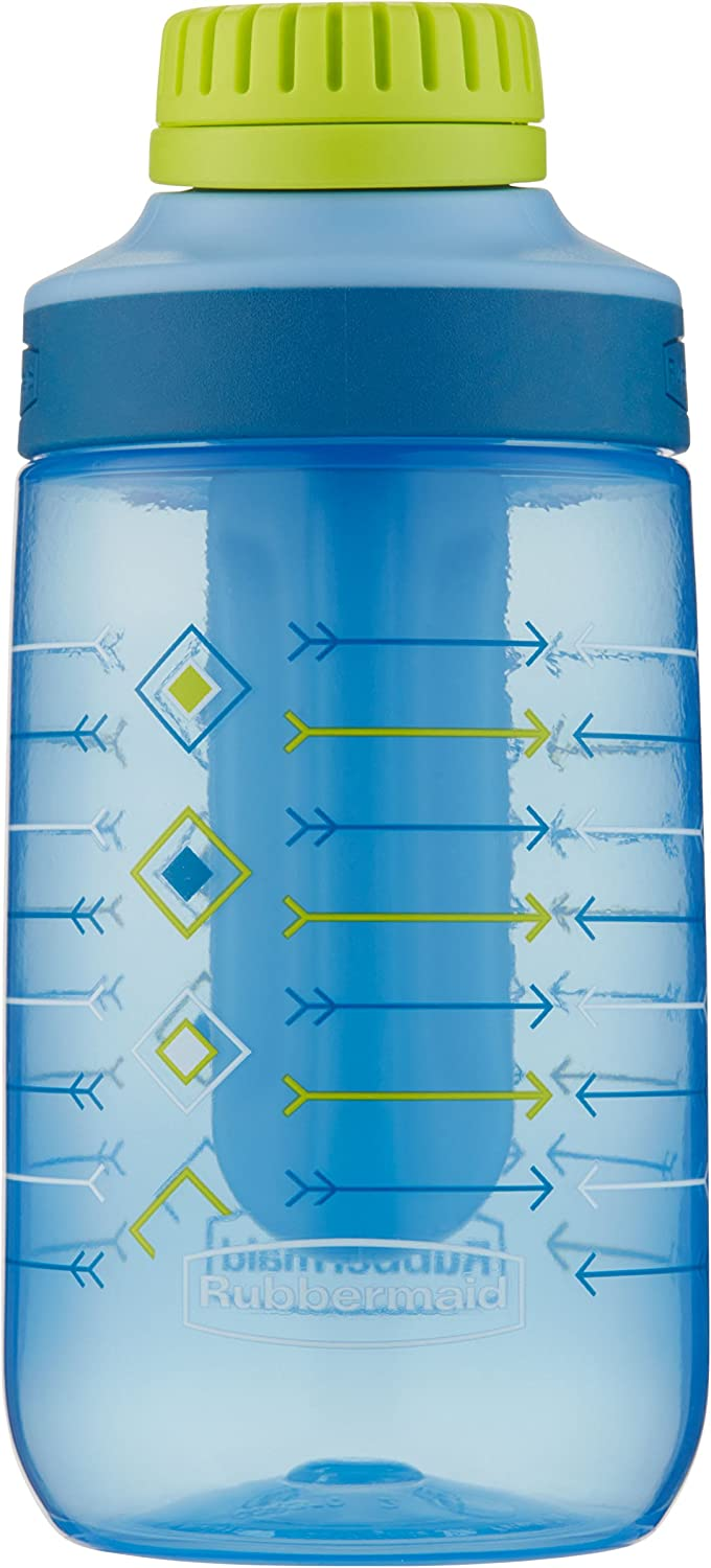 RubbermaidLeak-Proof Chug Kids Water Bottle, Blue Ice Stick, Skinny Arrows