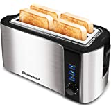 Elite Platinum ECT-3100 Stainless Steel Long Slot Toaster, Bagels, Specialty Breads Reheat, Cancel & Defrost Settings, 4 Slic
