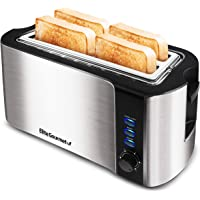 Elite Gourmet ECT-3100 Maxi-Matic 4 Slice Long Toaster with Extra Wide Slot for Bread, Croissants, and Buns, Reheat…