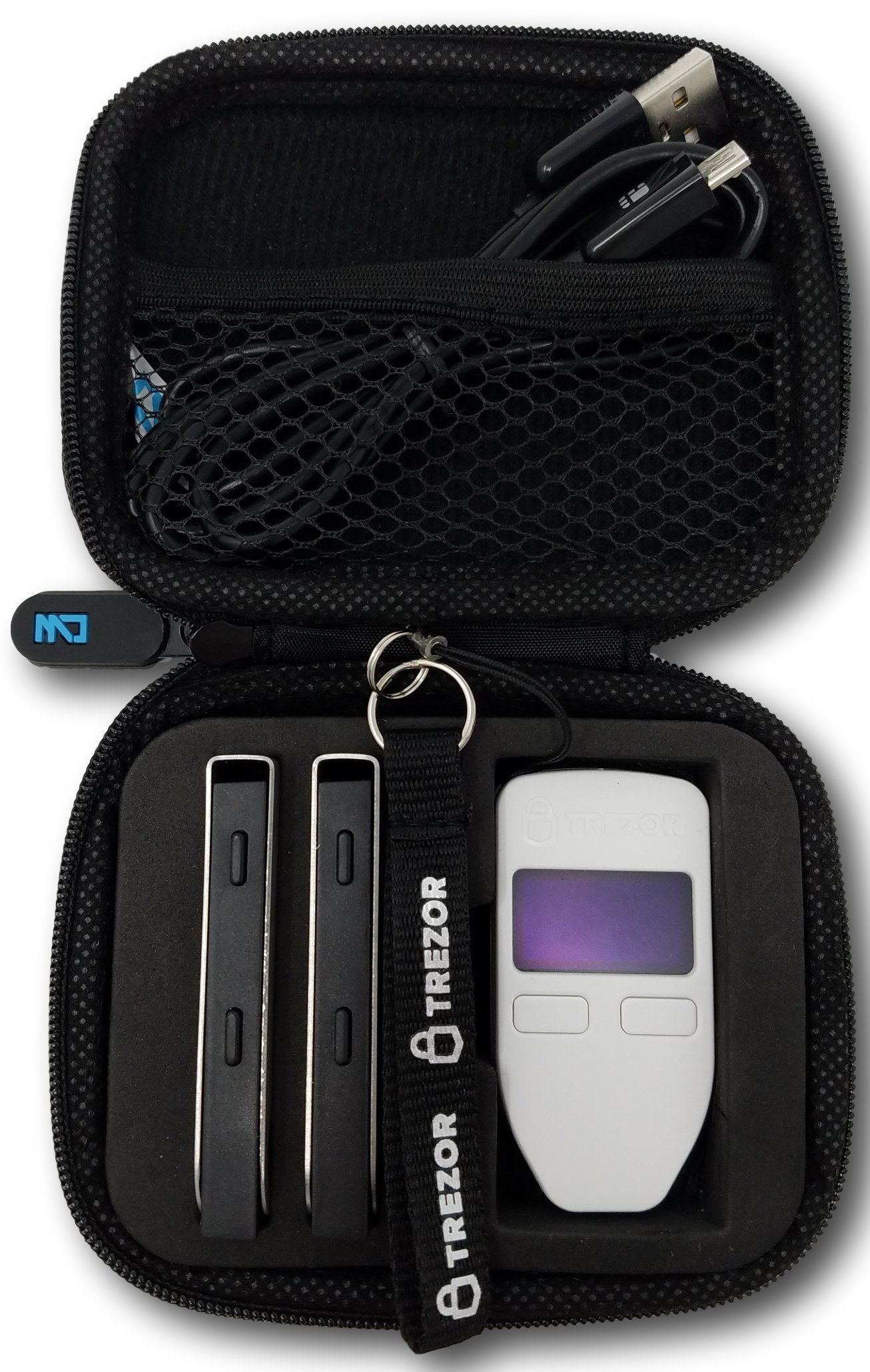 Trezor & Ledger Nano S Combo Carrying Case with Zipper, Bitcoin Hardware Wallet Storage, Safely Store Your Cryptocurrency Wallets and Secure From Damage by CW Cases (Trezor & Ledger Case)