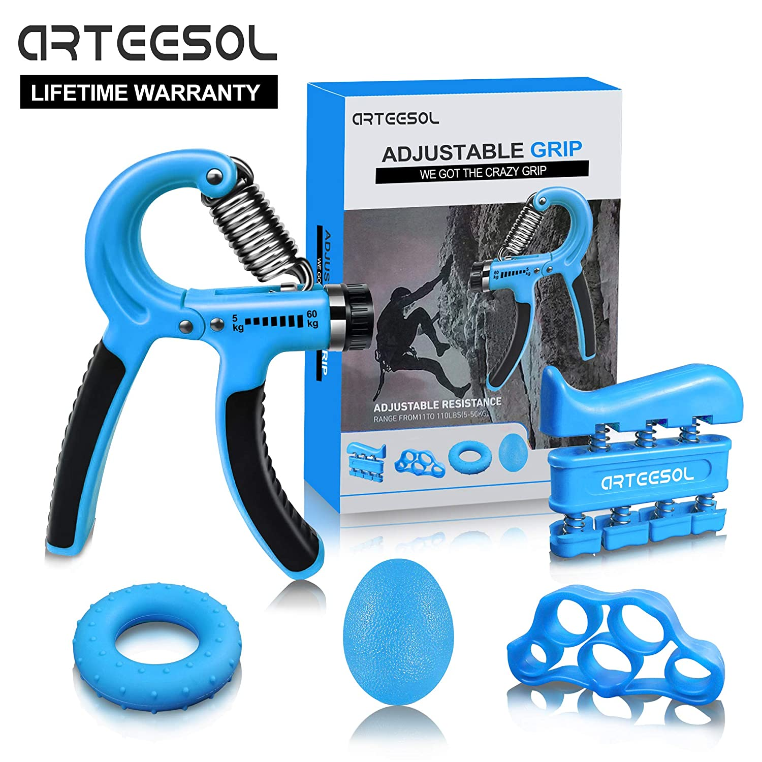 Hand Grip Strengthener, Arteesol Finger Strengthener 5 Pack Adjustable Resistance 11-132lbs-Finger Exerciser,Finger Stretcher Hand Therapy Forearm Therapy Exerciser for Unisex(Blue)
