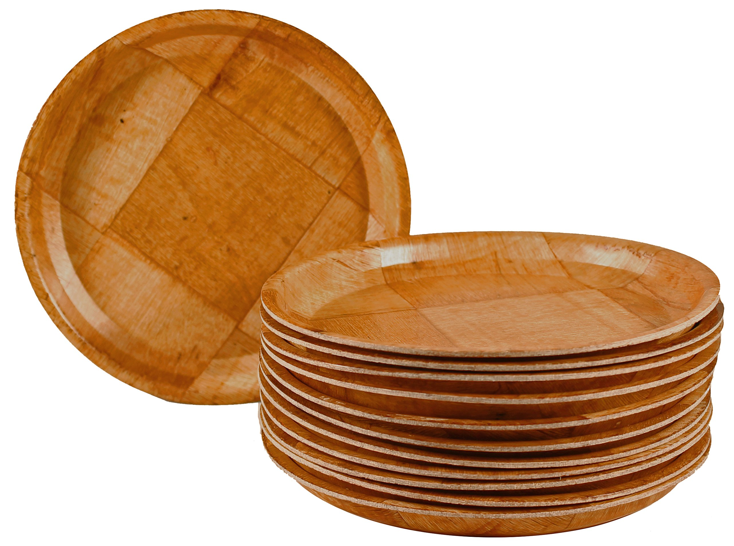 Woven Wood Rimmed Appetizer Plates with Pan Scraper (12-Pack, 6 Inch)