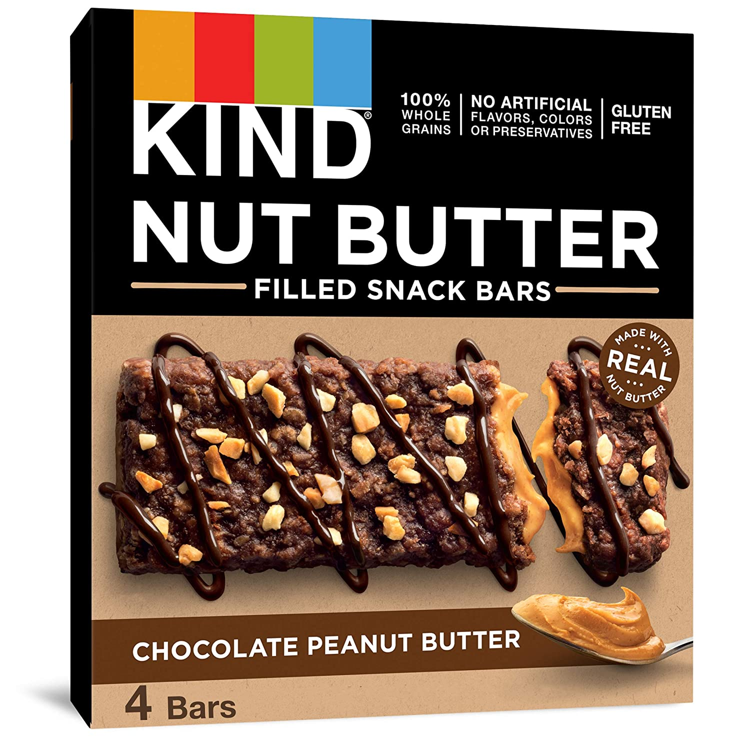 KIND Nut Filled Bars, Chocolate Peanut Butter, 1.3 Ounce, 32 Count