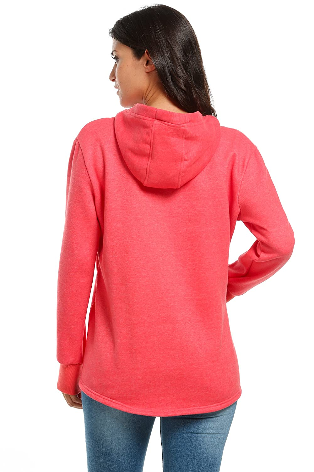 S, Blue eshion Women Hoodie Sweatshirt Cotton Hoody Pullover Top Sweater with Pockets