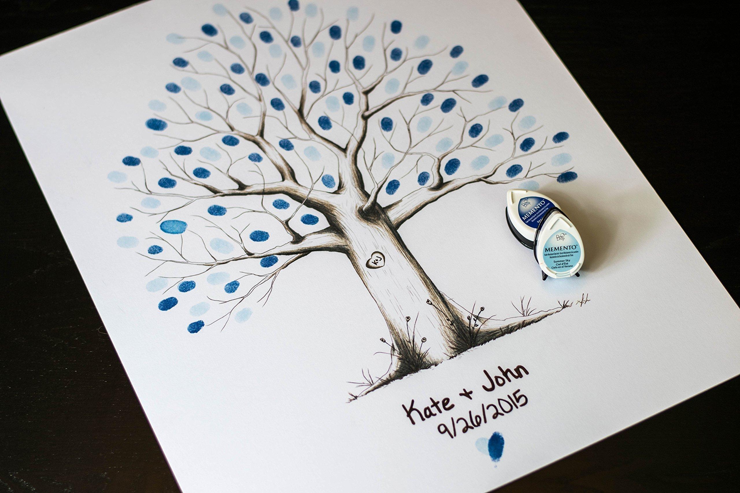Fingerprint Tree custom wedding guestbook - Original thumbprint guest book alternative (Medium Size Monochrome) includes 2 ink pads!!