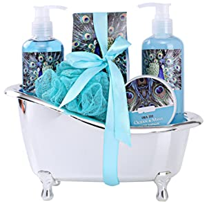 """Spa Gift Basket for Women with Refreshing """"Ocean Mint"""" Fragrance by Draizee-#1 Best Christmas Gift – Luxury Skin Care Set Includes 100% Natural Gels Lotions & More!"""