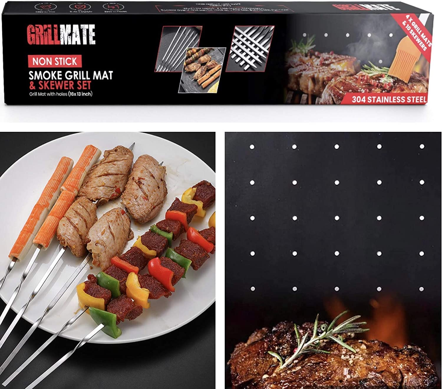 Grillmate Grill Mat – 4Pcs Grill Mats for Outdoor Grill with 10 Metal Skewers – PTFE Coated Fiberglass BBQ Grill Mats with Holes – Premium Food Grade Materials – Ideal for Gas, Charcoal, Electric