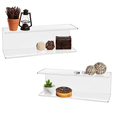 MyGift 2 Tier Clear Acrylic Wall Mounted Floating Display Shelves, Set of 2