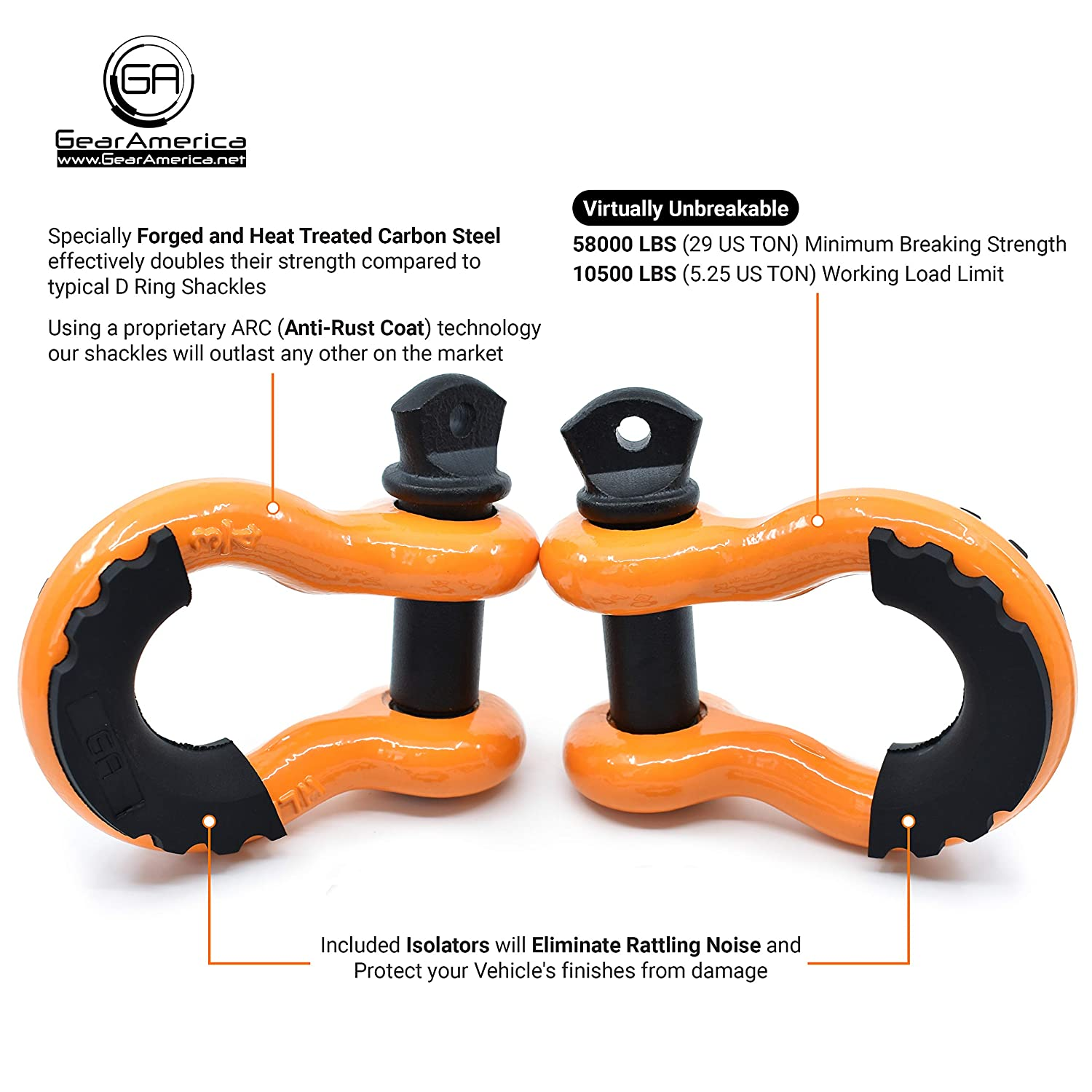 3//4 Shackle GearAmerica 29 US Ton Washers Max Strength Isolator Connect Your Tow Strap or Winch Rope for Off-Road 4x4 Recovery 7//8 Pin 2PK Heavy Duty D Ring Shackles Red | 58,000 lbs