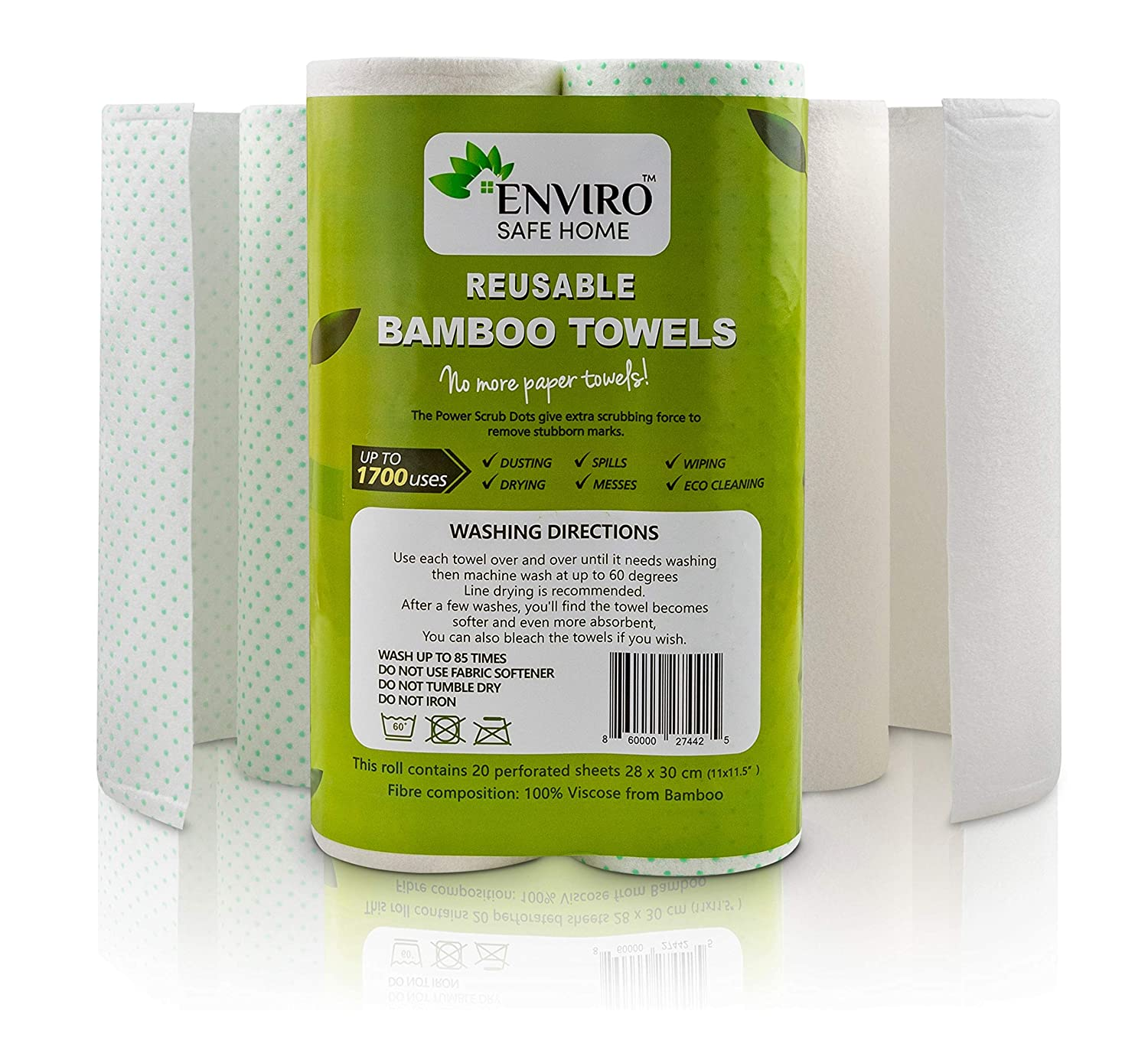 eco friendly 2 Ply Fabric Paper Towels 12 Piece Set No waste Red Tartan Plaid