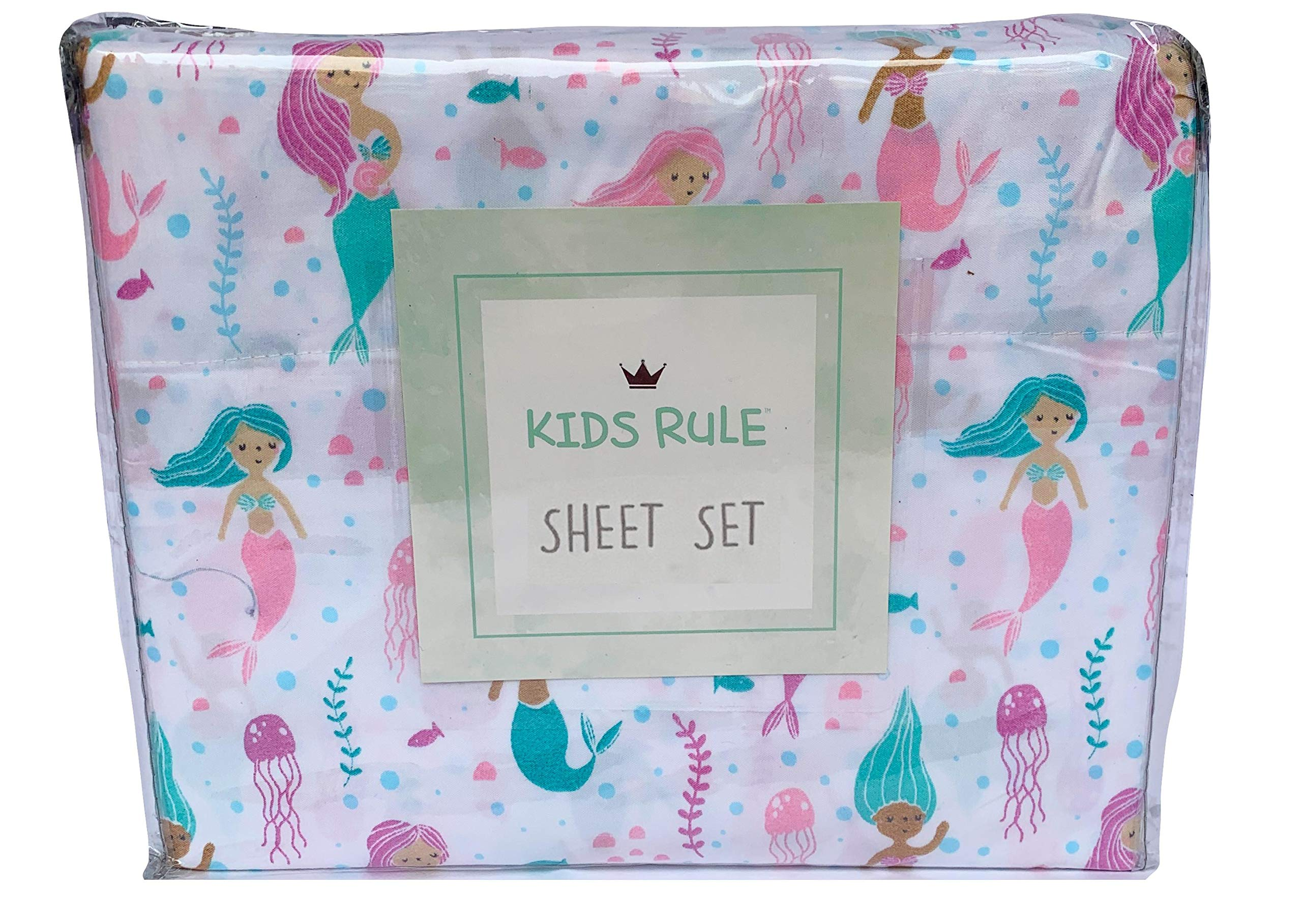 Kids Rule Microfiber Sheet Sets for Kids in Sweet Mermaid Print Purple, Aqua, Teal, White - Twin and Full Size (Twin)